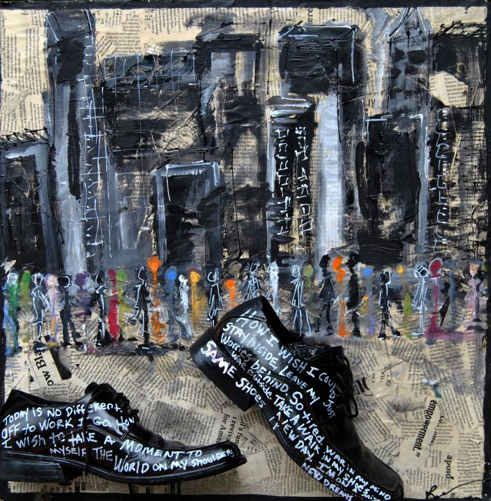 RebeccaRobinson_24x24_Mixed Media_Collage_WALK in HIS SHOES